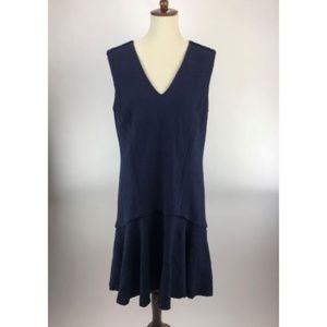 Ann Taylor Womens Mini Shift Dress 12 Blue V-Neck